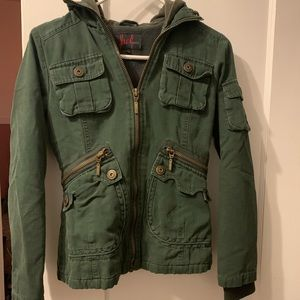 Green zip up jacket with pockets